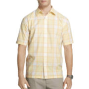 Van Heusen® Short-Sleeve Textured Plaid Shirt