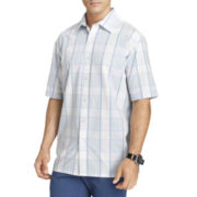 Van Heusen® Short-Sleeve Textured Plaid Shirt