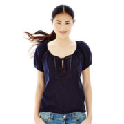 Joe Fresh™ Short-Sleeve Eyelet Peasant Top