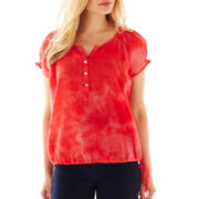 St. John's Bay® Short-Sleeve Tie-Dyed Peasant Top - Petite