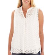 jcp™ Sleeveless Eyelet Top - Plus