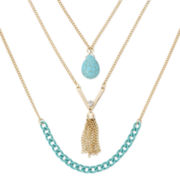 Decree® Aqua Stone 3-Row Layered Tassel Necklace