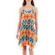 City Triangles® Sleeveless Aztec Print Handkerchief-Hem Necklace-Trim Dress