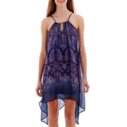 Love Reigns Sleeveless Paisley Print Chiffon High-Low Dress
