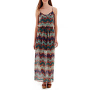 City Triangles® Sleeveless Batik Necklace-Trim Maxi Dress