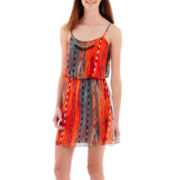 City Triangles® Sleeveless Bright Batik Necklace-Trim Blouson Dress