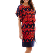 Signature by Sangria Dolman-Sleeve Ikat Print Blouson Dress
