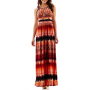 Signature by Sangria Sleeveless Beaded-Neck Maxi Dress