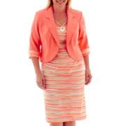 Dana Kay 3/4-Sleeve Striped Jacket Dress - Plus