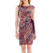 R&K Originals® Cap-Sleeve Paisley Print Side-Tie Sheath Dress - Petite