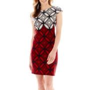 R&K Originals® Cap-Sleeve Geo Print Sheath Dress - Petite