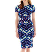 London Style Collection Short-Sleeve Print Midi Sheath Dress - Petite