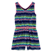Pinky Belted Chevron Romper - Girls 7-16