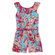 Pinky Floral-Print Belted Romper - Girls 7-16