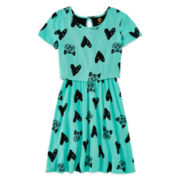 Total Girl® Cat-Print Popover Dress - Girls 7-16