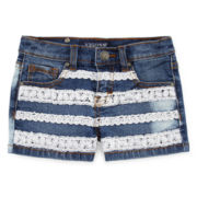 Vigoss® Crochet-Stripe Denim Shorts - Girls 7-16