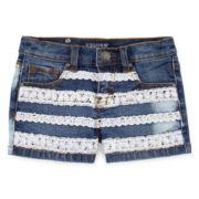 Vigoss® Crochet-Stripe Denim Shorts - Girls 7-16