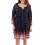 Arizona Long-Sleeve Print Dress - Plus