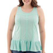 Arizona Sleeveless Drop-Waist Peplum Top - Juniors Plus