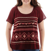 Arizona Short-Sleeve Embroidered Top - Plus