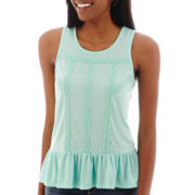 Arizona Sleeveless Drop-Waist Peplum Top