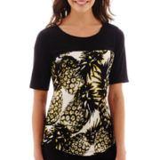 Worthington® Short-Sleeve Colorblock Top with Binding - Tall