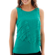 Worthington® Sleeveless Asymmetrical Tiered Top