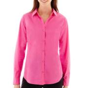 Worthington® Long-Sleeve Button-Front Shirt - Tall