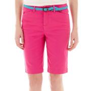 St. John's Bay® Secretly Slender Twill Bermuda Shorts- petite