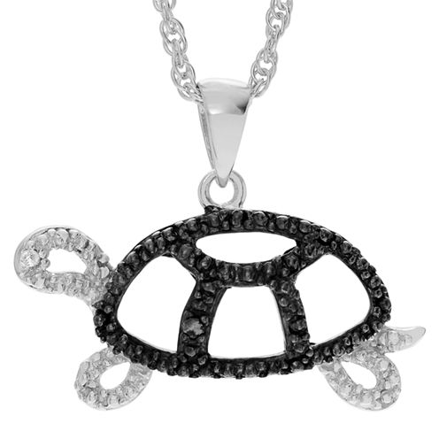 Womens White & Color Enhanced Black Diamond Accent Sterling Silver Pendant Necklace