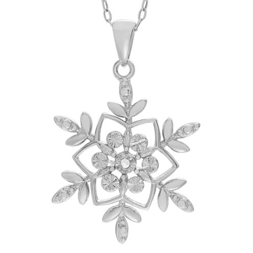 Womens 1/2 CT. T.W. White Diamond Sterling Silver Pendant Necklace