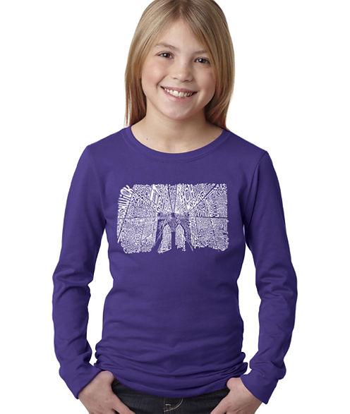 Los Angeles Pop Art Brooklyn Bridge Long Sleeve Graphic T-Shirt Girls