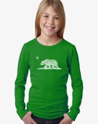 Los Angeles Pop Art California Bear Long Sleeve Graphic T-Shirt Girls