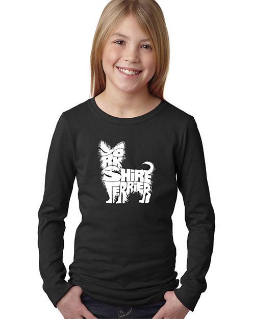 Los Angeles Pop Art Yorkie Long Sleeve Graphic T-Shirt Girls