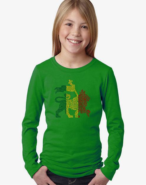 Los Angeles Pop Art Rasta Lion - One Love Long Sleeve Graphic T-Shirt Girls