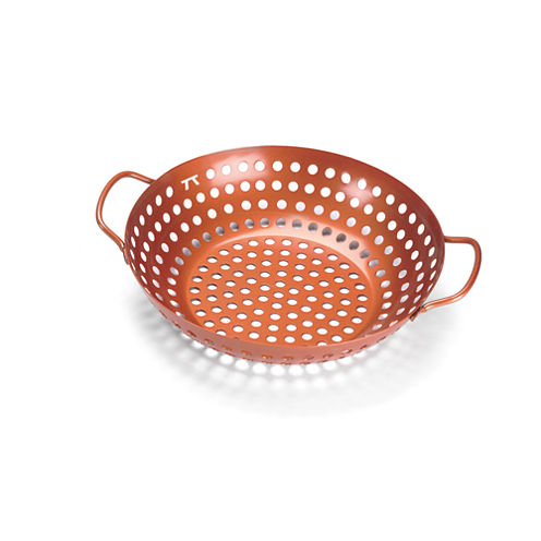 Outset BBQ Copper Non-Stick Round Grill Wok