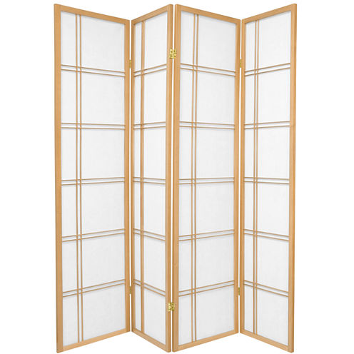 Oriental Furniture 6' Double Cross Shoji 4 Panel Room Divider
