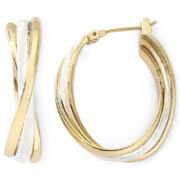 Monet® Medium Gold-Tone Oval Twist Hoop Earrings