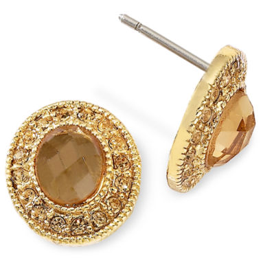 jcpenney.com | Monet® Gold-Tone Brown Stud Earrings