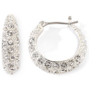 Monet® Silver-Tone Pavé Crystal Hoop Earrings