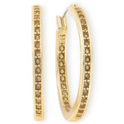 Monet® Gold-Tone Brown Inside Out Hoop Earrings
