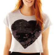 Olsenboye® Sequin Heart Cropped Top