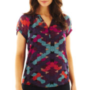Liz Claiborne Split-Neck Peasant Top with Cami