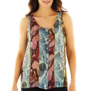 Liz Claiborne Scoopneck Button-Front Tank Top with Cami