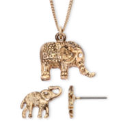 Decree® Gold-Tone Elephant Necklace & Earring Set
