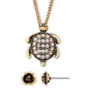 Decree® Gold-Tone Turtle Necklace & Earring Set