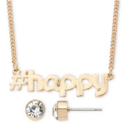 Decree® Gold-Tone Happy Necklace & Earrings Set