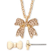 Decree® Gold-Tone Bow Necklace & Earring Set