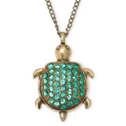 Decree® Gold-Tone Green Turtle Pendant
