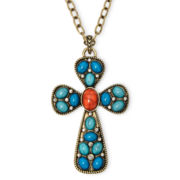 Decree® Gold-Tone Blue Cross Pendant